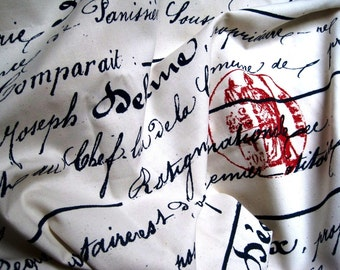 "Antique Penmanship Fabric, Fat Quarter, Navy / Red / Natural, 18"" X 22"" inches, 100% Cotton for Victorian & Romantic Projects"