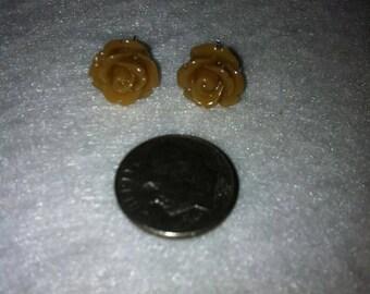 Brown Small Rose Flower Stud Earrings