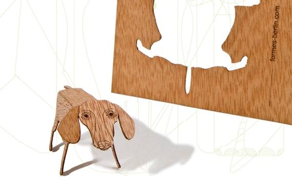 postcard wood - 3 dachshund cards