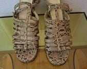 Vintage 80's Faux Snakeskin Strappy Chunky Heal Sandals Size 7