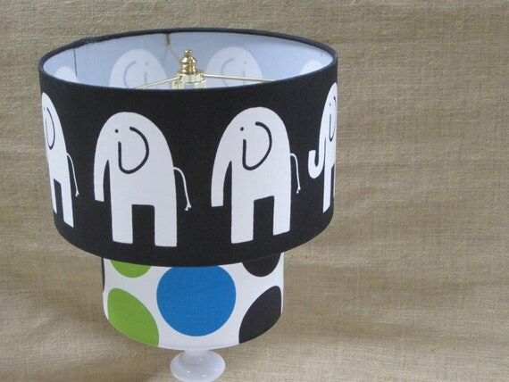 Lamp Shade Elephant Dandi Dot Drum Lampshade 2 Tier in Black Chartreuse Marina Blue on Ivory/White