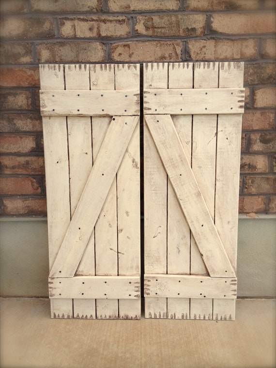 "2 Tall Antiqued Distressed White Shutters 14"" x 37"" (wreath not included)"