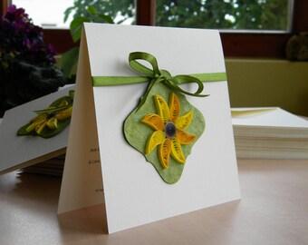 Sunflower wedding invitation beige and green