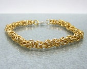 Gold Yellow Anodized Aluminum Bracelet Chainmaille Made to Size