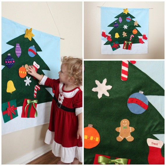 items similar to felt christmas tree decoration interiactive toddler child toy on etsy. Black Bedroom Furniture Sets. Home Design Ideas