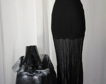 The Long and Short of Goth-80's Jeff Gallana (Paris) crinkle  chiffon sheath dress with sexy mini slip: size Fr T2, US Medium