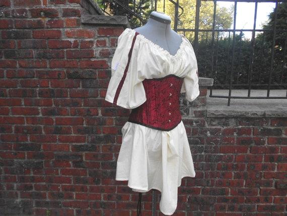 Custom made ladies half length medieval short sleeve chemise with trim