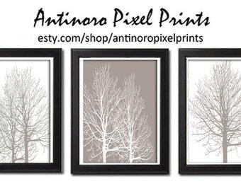 Khaki Foliage Digital Wall Art Khaki White Tree  Wall Art Vintage / Modern Inspired Art Prints  -Set of (3) -11x14 Prints -  (UNFRAMED)