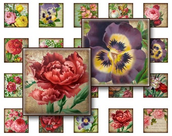 50% OFF SALE Flowers Collage Sheet Digital Collage sheet 1x1 inch for jewelry square pendants and magnets  digital collage sheet
