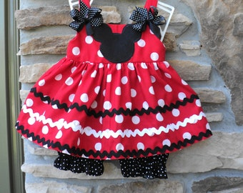 Custom Boutique  Classic Minnie Mouse Inspired Dress w/Bloomers  Sizes 0-6mo, 6-12mo, 12-18mo, 18-24mo, 2t, 3t, 4t, 5/6, 7/8