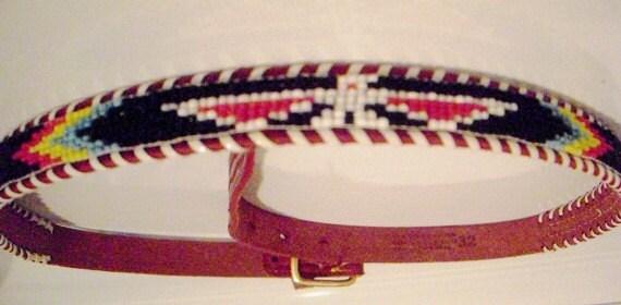 Retro Beaded Leather Belt