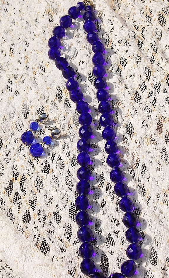 Vintage Cut Glass Necklace and Earrings cobalt blue