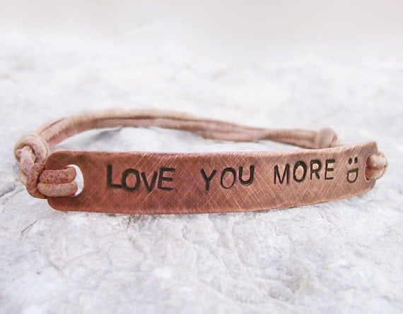 Mens Bracelet Personalized Copper & Leather Bangle - Custom Hand Stamped, Oxidized Brushed Copper - Gift for Men