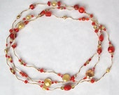 Curvy Links Necklace with Red and Gold Venetian Beads and Magnetic Clasp