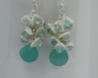 Ocean Blue Chalcedony / Apatite and Fresh Water Pearls Earrings