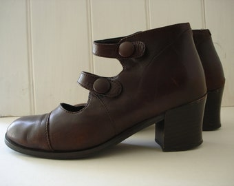 Brown Leather Boots - Strappy Shoes - Size 3.5