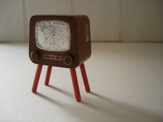 Vintage Television Miniature - Dolls House Furniture - Wooden Toy Television