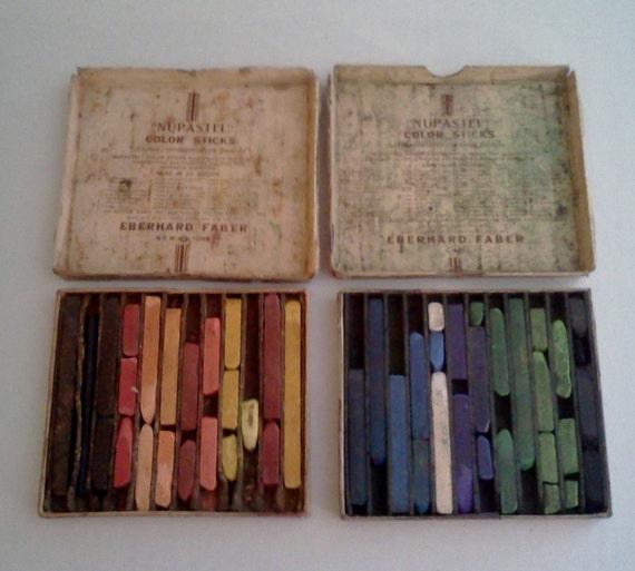 Vintage Pastel Supplies Nupastel color sticks Eberhard Faber 263
