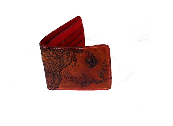 Men's Leather Wallet, Red Skull Bi fold wallet, Men's Hand Tooled Wallet, Wallet with coin pocket, Slim and Thin Wallet, Gift for Him