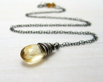 Citrine Necklace, Oxidized Sterling Silver Wire Wrapped Yellow Golden Citrine Pendant November Birthstone Jewelry
