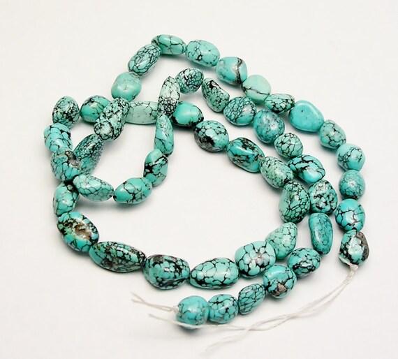 Hubei turquoise nugget gemstone beads spider web destash T013