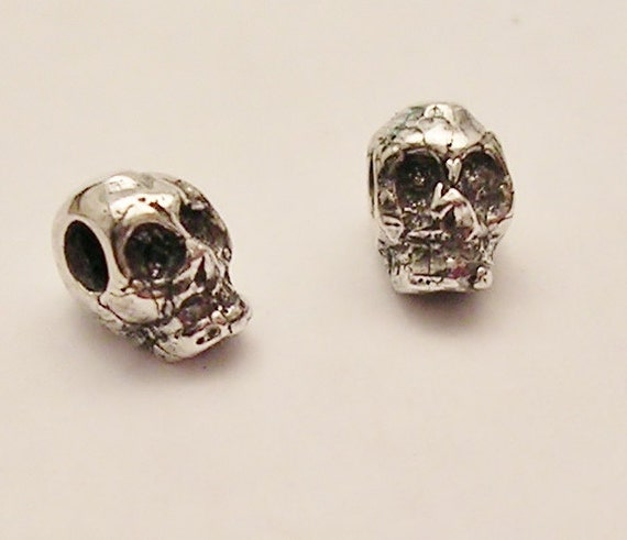 tiny sterling silver skull beads large hole C113-2