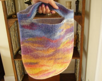 Sunset Felted Bag Blue Pink Red Orange Tote Bag Shopper
