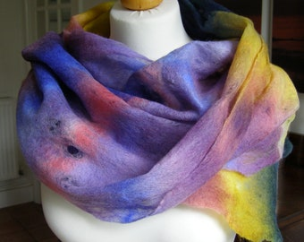 Hand Dyed Felted Cobweb Wrap 'Summer Garden' Scarf Stole Soft Warm Lightweight