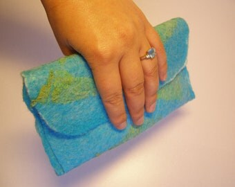 Nuno Felted Silk Clutch Bag, Handbag, Case, Wet Felted, Blue & Green, Water, Texture
