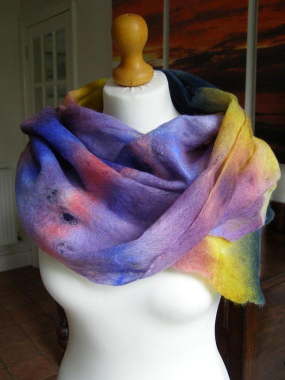 Hand Dyed Felted Cobweb Wrap 'Summer Garden' Scarf Stole Soft Warm Lightweight