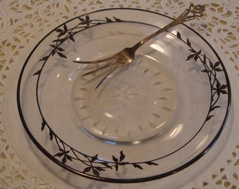 Antique Depression Glass Plate, Inlaid with Sterling Silver, with an Antique Serving Fork