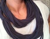 Chunky Jersey, T-Shirt, tshirt, Infinity Scarf, Cowl, Necklace in Charcoal Grey