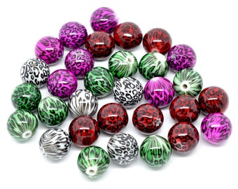 10 Basketball Wives Jewelry Acrylic Animal Print Leopard Zebra Cheetah Ball Bead Choice of Colors Pkg/10