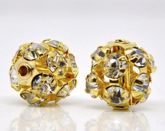 10 Basketball Wives Gold Rhinestone Disco Ball Spacer Bead 10mm (00521)