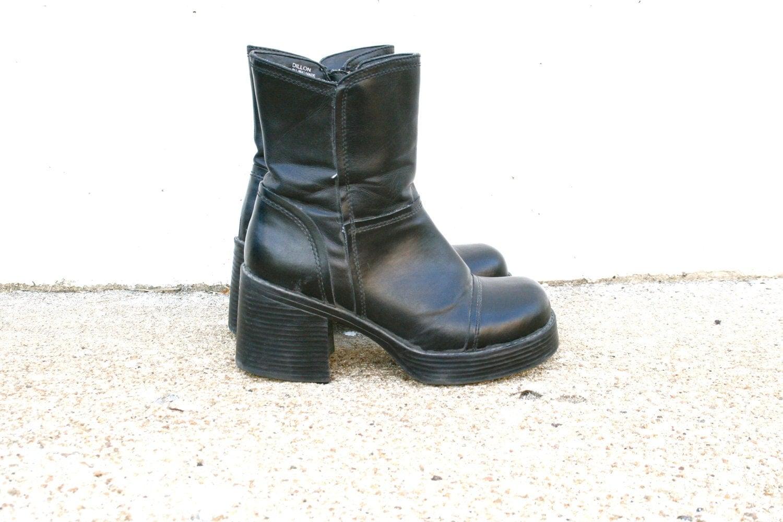 vintage 90s mudd dillon black platform boots sz 7