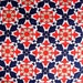 Vintage 60s Red White and Blue Rayon Acetate Fabric Super Mod Shiny Cool Circle Daisy Flower Print Dress Maker CBF