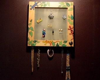 Housewares Home Decor Mirrored Jewelry Organizer Earring Storage Vanity Handmade Display Gecko Garden (Patent Pending)