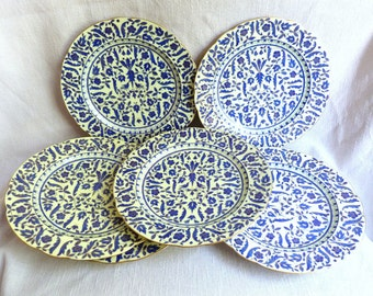 Antique Rare Fischer & Mieg Dinner Plates in Blue and Gold - Set of 6