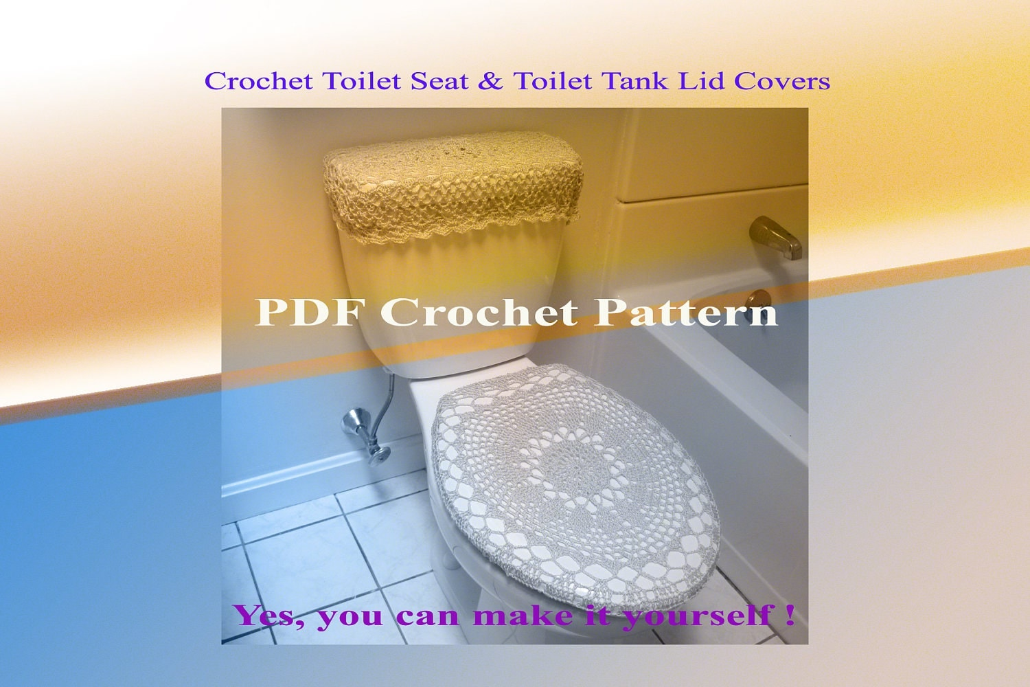 Set Of 2 Crochet Patterns Toilet Seat Cover 8vc2012
