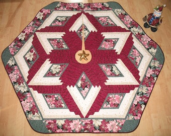 Quilted Christmas Tree Skirt Quilt Treeskirt Burgundy Poinsettia 115
