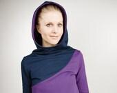 "hoodie ""krokus"", purple - dark blue, cotton, s/m/l"