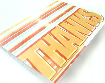 SALE - 25% OFF -- Retro Stripes - Blank 4x5.5 Thank You Card, Single or Set of 4 - Red Orange Yellow 1970s 1980s Vintage Style Stationary