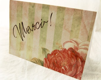 SALE - 25% OFF -- Merci Cottage Roses - Blank 4x5.5 Thank You Note Card, Single or Set of 4 -Blush Pink Sage Green French Shabby Chic Floral