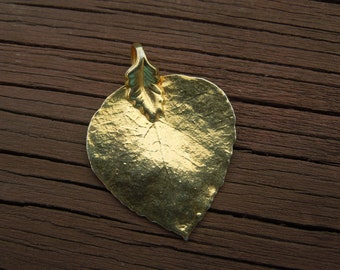 Vintage Gold Leaf Pendant.  Small Size, Delicate, Gold Toned