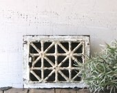 vintage metal heating grate - white chipped paint patina urban farmhouse decor/display