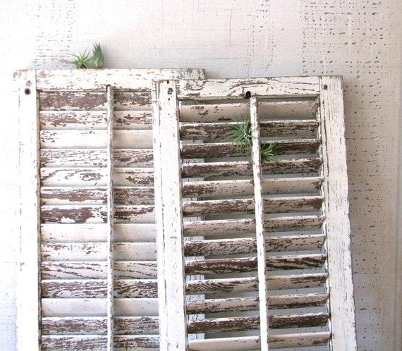 vintage wood shutters - creamy khaki - beachy farmhouse style
