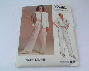 Vintage Vogue Pattern 1541 American Designer Ralph Lauren Misses Jacket Pants Shirt