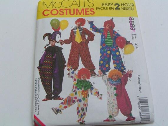 McCalls Pattern Costume 8869 Clown Child