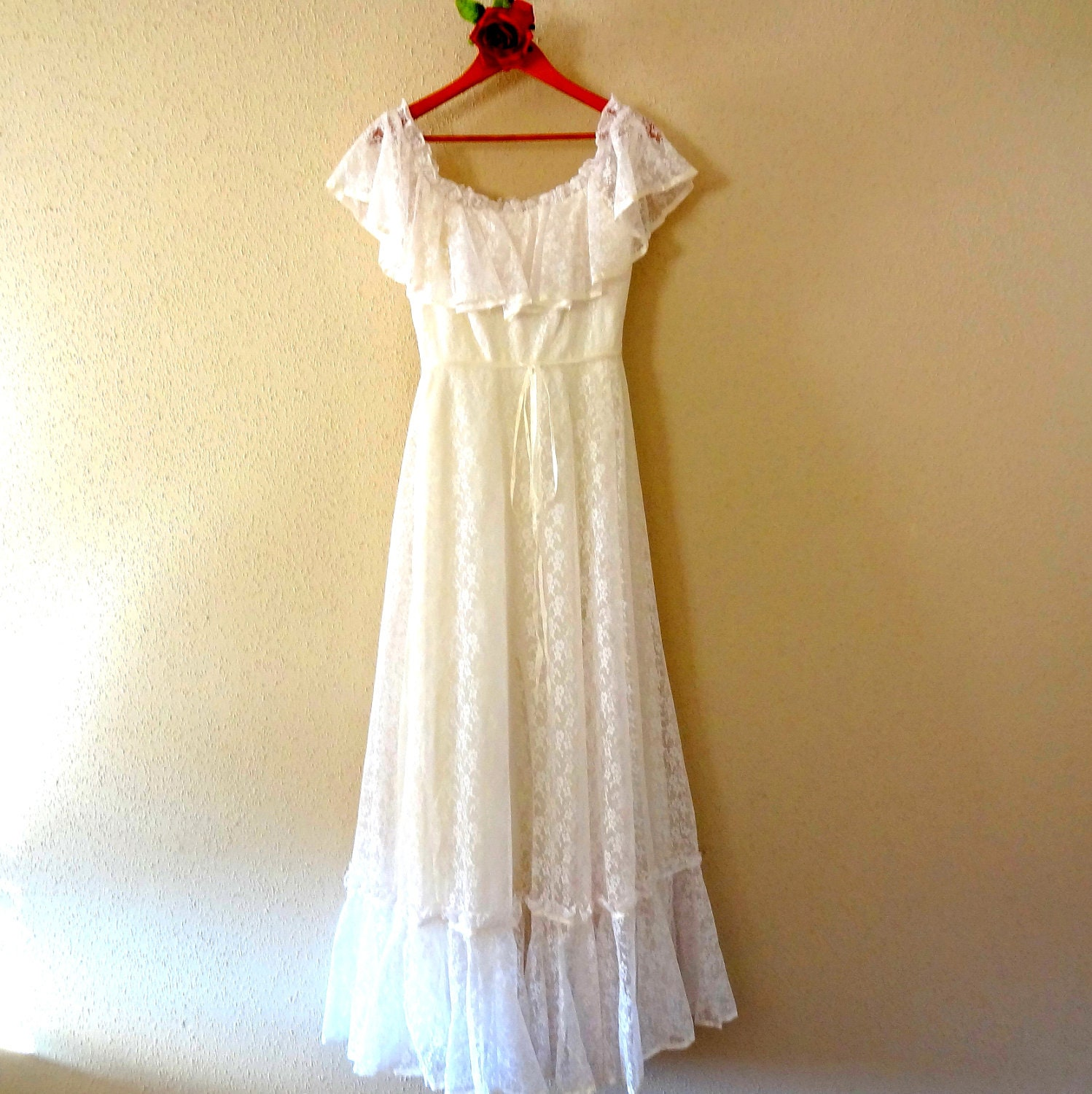 Vintage lace flower child hippie wedding dress Hippie vintage wedding dresses