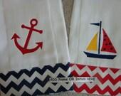 Nautical Red and Navy Chevron Burp Cloth Set  Monogrammed FREE